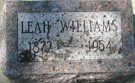 WILLIAMS, LEAH - Minnehaha County, South Dakota | LEAH WILLIAMS - South Dakota Gravestone Photos