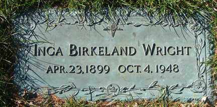 BIRKELAND WRIGHT, INGA - Minnehaha County, South Dakota | INGA BIRKELAND WRIGHT - South Dakota Gravestone Photos