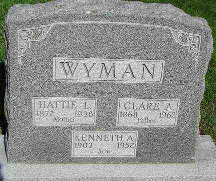 WYMAN, CLARE A. - Minnehaha County, South Dakota | CLARE A. WYMAN - South Dakota Gravestone Photos