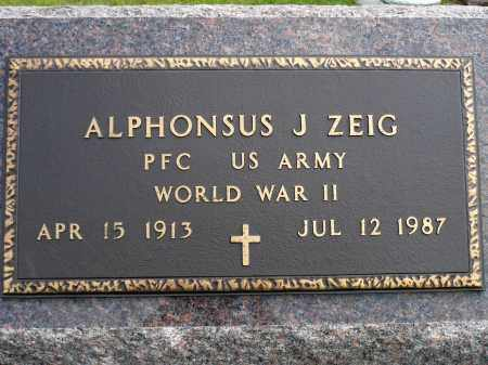 ZEIG, APHONSUS J. (WWII) - Minnehaha County, South Dakota | APHONSUS J. (WWII) ZEIG - South Dakota Gravestone Photos