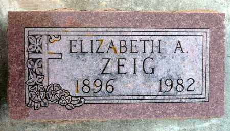 ZEIG, ELIZABETH A. - Minnehaha County, South Dakota | ELIZABETH A. ZEIG - South Dakota Gravestone Photos