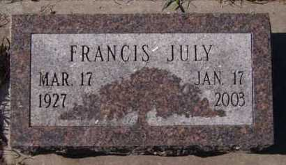 JULY, FRANCIS - Moody County, South Dakota | FRANCIS JULY - South Dakota Gravestone Photos