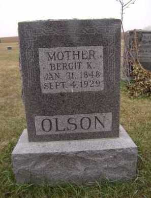 OLSON, BERGIT K - Moody County, South Dakota | BERGIT K OLSON - South Dakota Gravestone Photos