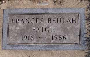 PATCH, FRANCES BEULAH - Moody County, South Dakota | FRANCES BEULAH PATCH - South Dakota Gravestone Photos