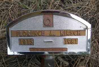 KIRSCH, FLORENCE A. - Pennington County, South Dakota   FLORENCE A. KIRSCH - South Dakota Gravestone Photos