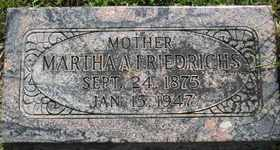 FRIEDRICHS, MARTHA A - Sanborn County, South Dakota   MARTHA A FRIEDRICHS - South Dakota Gravestone Photos
