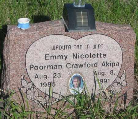 POORMAN CRAWFORD AKIPA, EMMY NICOLETTE - Todd County, South Dakota | EMMY NICOLETTE POORMAN CRAWFORD AKIPA - South Dakota Gravestone Photos