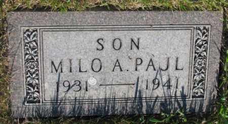 PAJL, MILO A. - Tripp County, South Dakota | MILO A. PAJL - South Dakota Gravestone Photos