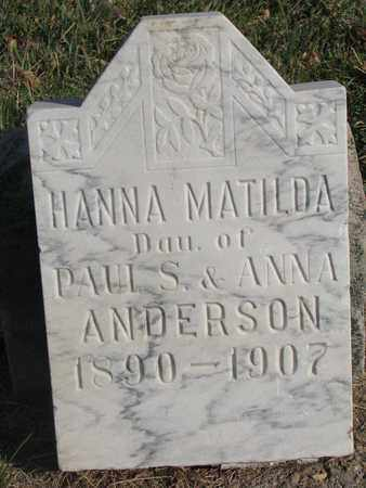 ANDERSON, HANNA MATILDA - Union County, South Dakota | HANNA MATILDA ANDERSON - South Dakota Gravestone Photos