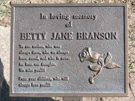 BRANSON, BETTY JANE (CLOSEUP) - Union County, South Dakota | BETTY JANE (CLOSEUP) BRANSON - South Dakota Gravestone Photos