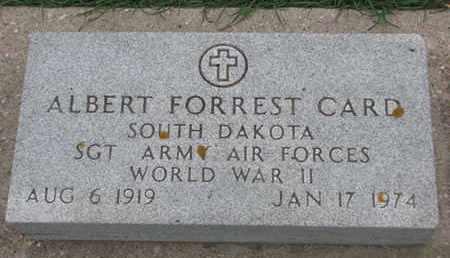 CARD, ALBERT FORREST (WORLD WAR II) - Union County, South Dakota   ALBERT FORREST (WORLD WAR II) CARD - South Dakota Gravestone Photos