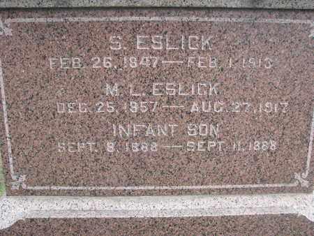 ESLICK, M.L. (CLOSEUP) - Union County, South Dakota | M.L. (CLOSEUP) ESLICK - South Dakota Gravestone Photos