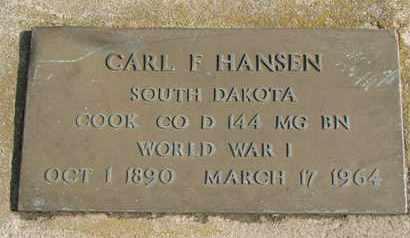HANSEN, CARL F. (WORLD WAR I) - Union County, South Dakota   CARL F. (WORLD WAR I) HANSEN - South Dakota Gravestone Photos