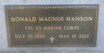 HANSON, DONALD MAGNUS (MILITARY) - Union County, South Dakota | DONALD MAGNUS (MILITARY) HANSON - South Dakota Gravestone Photos