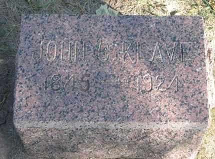 KLAVE, JOHN C. - Union County, South Dakota | JOHN C. KLAVE - South Dakota Gravestone Photos