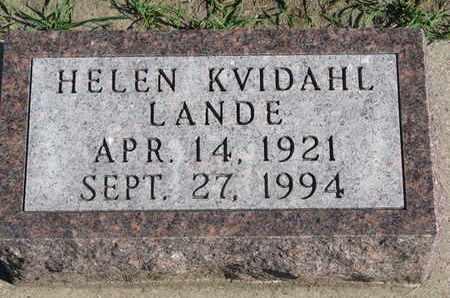 KVIDAHL LANDE, HELEN - Union County, South Dakota | HELEN KVIDAHL LANDE - South Dakota Gravestone Photos