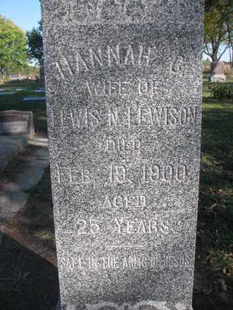 LEWISON, HANNAH C. (CLOSEUP) - Union County, South Dakota | HANNAH C. (CLOSEUP) LEWISON - South Dakota Gravestone Photos