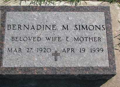 SIMONS, BERNADINE M. - Union County, South Dakota | BERNADINE M. SIMONS - South Dakota Gravestone Photos