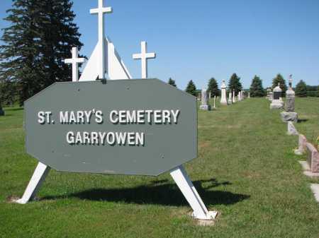 *ST. MARYS - GARRYOWEN, ENTRY SIGN - Union County, South Dakota | ENTRY SIGN *ST. MARYS - GARRYOWEN - South Dakota Gravestone Photos