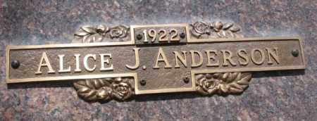 ANDERSON, ALICE J. - Yankton County, South Dakota | ALICE J. ANDERSON - South Dakota Gravestone Photos