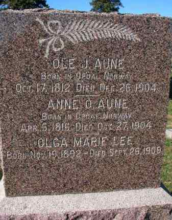 AUNE, ANNE O. - Yankton County, South Dakota   ANNE O. AUNE - South Dakota Gravestone Photos