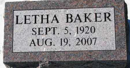 BAKER, LETHA - Yankton County, South Dakota | LETHA BAKER - South Dakota Gravestone Photos