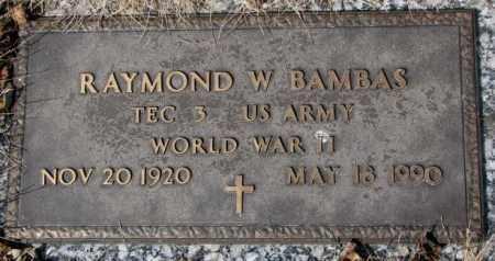 BAMBAS, RAYMOND W. - Yankton County, South Dakota | RAYMOND W. BAMBAS - South Dakota Gravestone Photos