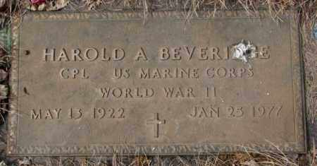 BEVERIDGE, HAROLD A. - Yankton County, South Dakota | HAROLD A. BEVERIDGE - South Dakota Gravestone Photos