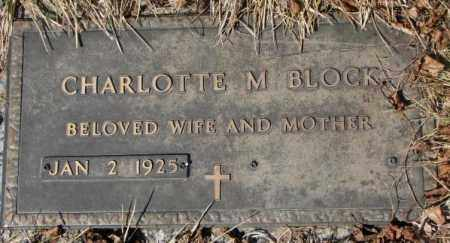 BLOCK, CHARLOTTE M. - Yankton County, South Dakota   CHARLOTTE M. BLOCK - South Dakota Gravestone Photos