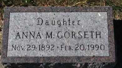 GORSETH, ANNA M. - Yankton County, South Dakota | ANNA M. GORSETH - South Dakota Gravestone Photos