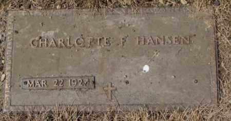 HANSEN, CHARLOTTE F. - Yankton County, South Dakota | CHARLOTTE F. HANSEN - South Dakota Gravestone Photos