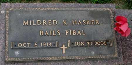 HASKER, MILDRED K - Yankton County, South Dakota   MILDRED K HASKER - South Dakota Gravestone Photos