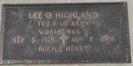 HIGHLAND, LEE. O. - Yankton County, South Dakota   LEE. O. HIGHLAND - South Dakota Gravestone Photos