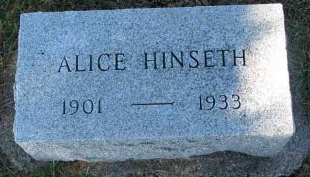 HINSETH, ALICE - Yankton County, South Dakota | ALICE HINSETH - South Dakota Gravestone Photos