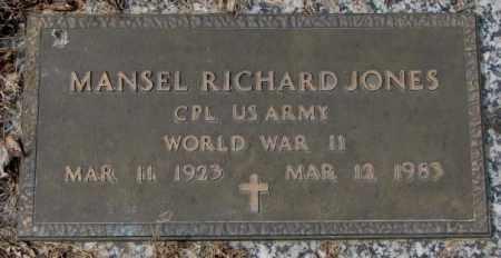 JONES, MANSEL RICHARD - Yankton County, South Dakota | MANSEL RICHARD JONES - South Dakota Gravestone Photos