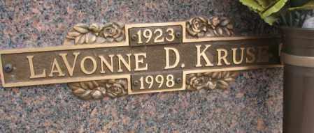 KRUSE, LAVONNE D. - Yankton County, South Dakota | LAVONNE D. KRUSE - South Dakota Gravestone Photos