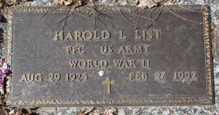 LIST, HAROLD L. (WW II) - Yankton County, South Dakota | HAROLD L. (WW II) LIST - South Dakota Gravestone Photos