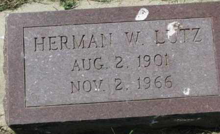 LUTZ, HERMAN W. - Yankton County, South Dakota   HERMAN W. LUTZ - South Dakota Gravestone Photos
