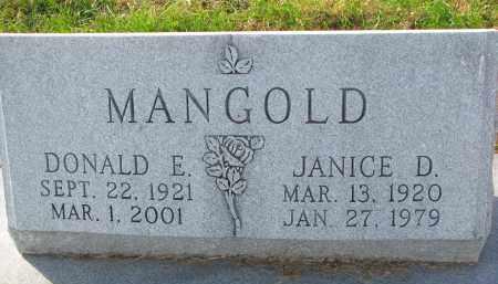 MANGOLD, DONALD E. - Yankton County, South Dakota   DONALD E. MANGOLD - South Dakota Gravestone Photos
