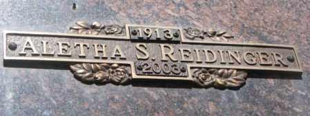 REIDINGER, ALETHA S. - Yankton County, South Dakota | ALETHA S. REIDINGER - South Dakota Gravestone Photos