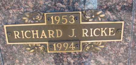 RICKE, RICHARD J. - Yankton County, South Dakota | RICHARD J. RICKE - South Dakota Gravestone Photos