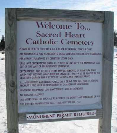 *SACRED HEART CATHOLIC, SIGN - Yankton County, South Dakota | SIGN *SACRED HEART CATHOLIC - South Dakota Gravestone Photos