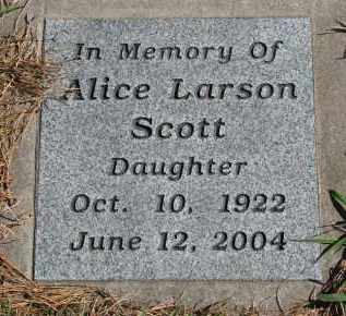 SCOTT, ALICE - Yankton County, South Dakota | ALICE SCOTT - South Dakota Gravestone Photos