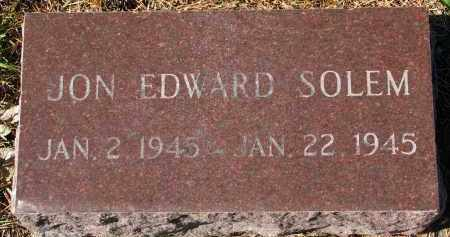SOLEM, JON EDWARD - Yankton County, South Dakota | JON EDWARD SOLEM - South Dakota Gravestone Photos