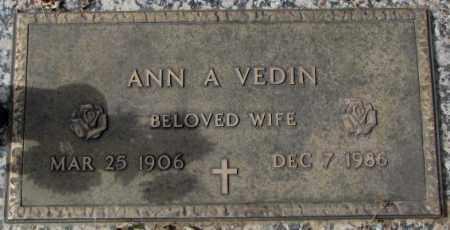 VEDIN, ANN A. - Yankton County, South Dakota | ANN A. VEDIN - South Dakota Gravestone Photos