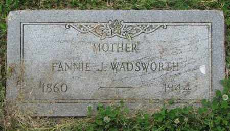WADSWORTH, FANNIE J. - Yankton County, South Dakota | FANNIE J. WADSWORTH - South Dakota Gravestone Photos