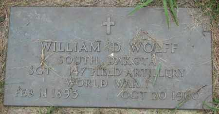 WOLFF, WILLIAM D. (WW I) - Yankton County, South Dakota | WILLIAM D. (WW I) WOLFF - South Dakota Gravestone Photos