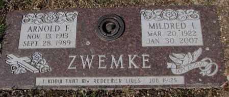 ZWEMKE, MILDRED I. - Yankton County, South Dakota | MILDRED I. ZWEMKE - South Dakota Gravestone Photos