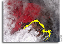 Satellite Image Shows Lava Flow from Hawaii Volcano