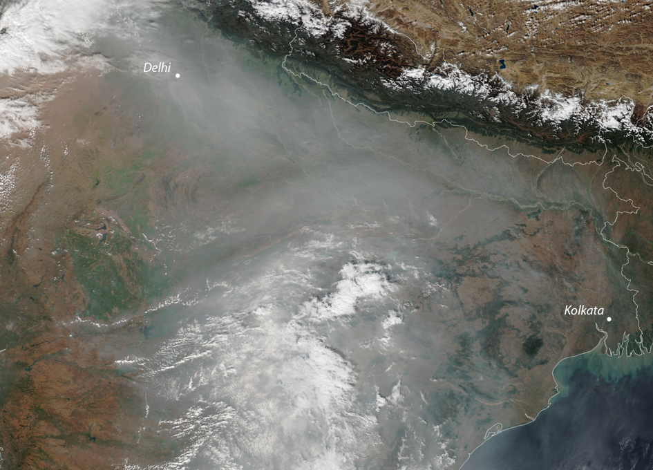 Air Pollution Chokes Northern India As Seen From Space